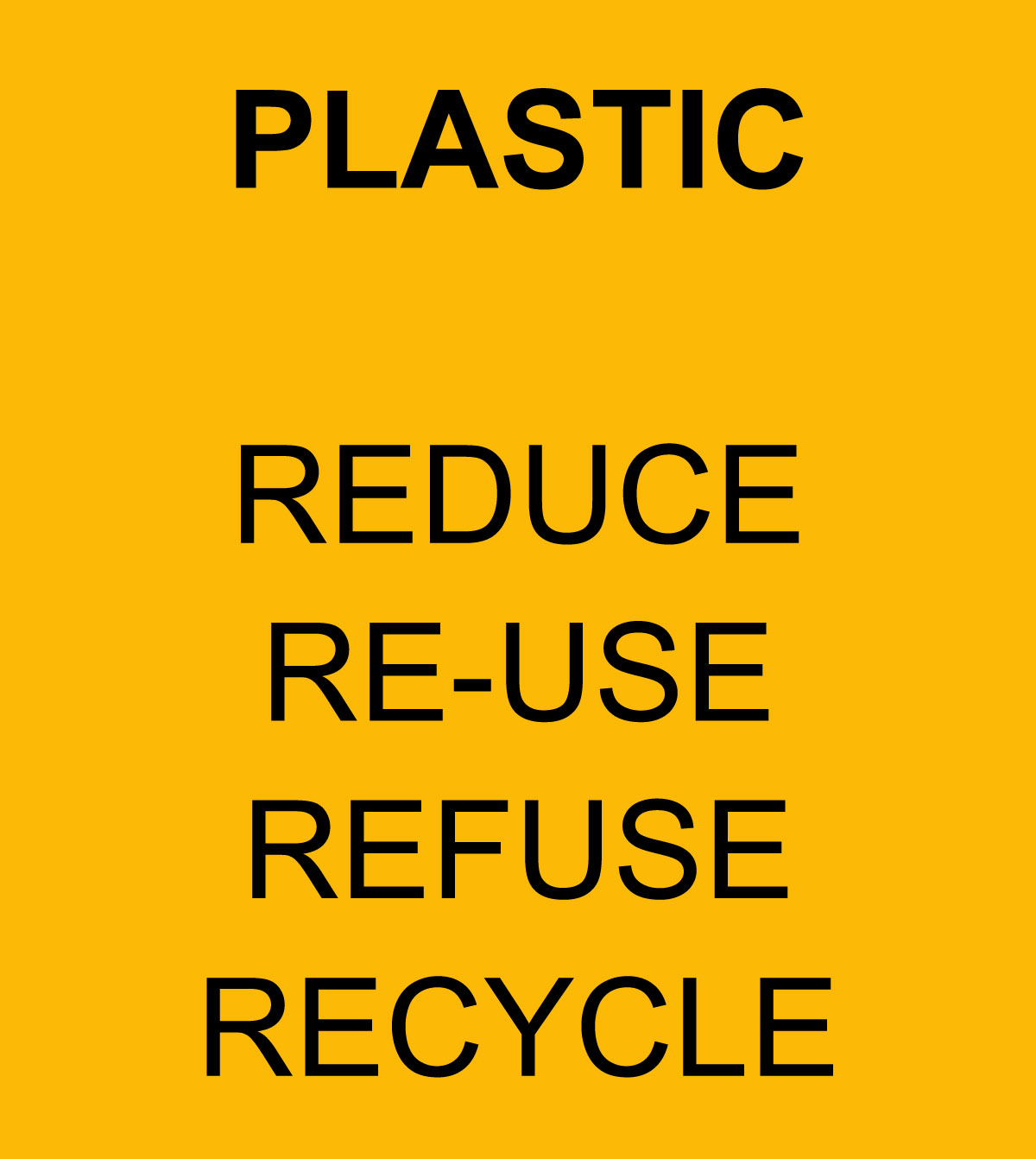 PLASTIC - reduce, re-use, refuse, recycle